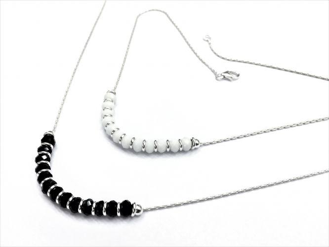 992d34a96d06 Collar De Plata Con Donas Y Piedras Facetadas Negro y Blanco