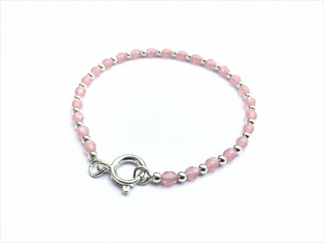 3098a951a87a Pulsera De Plata Y Cristales Rosa