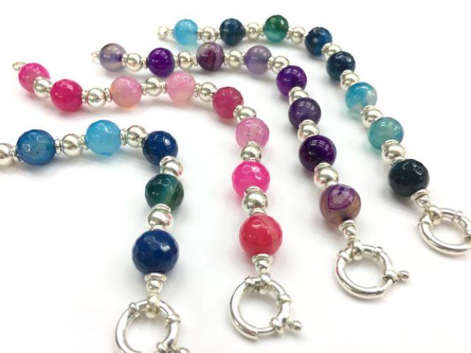 5cb39f143fd7 Pulseras De Plata Bolas Y Piedras Diferentes Colores
