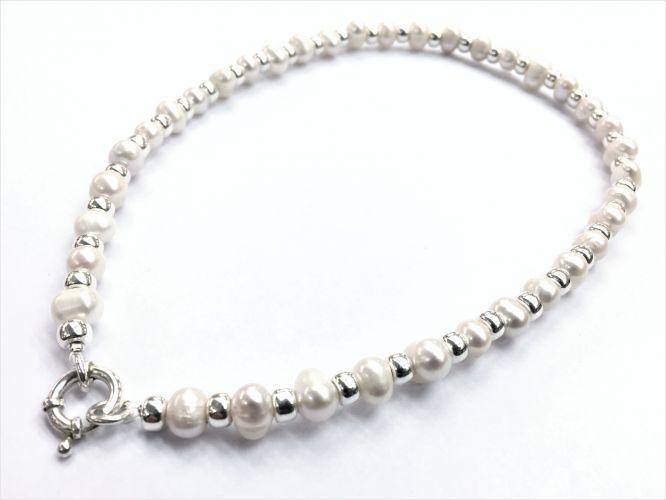 bb630e8b6ee4 Collar De Plata Con Perla De Rio Cierre Marinero