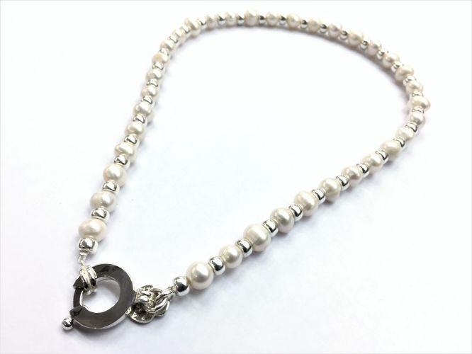 95778303e07b Collar De Plata Con Perla De Rio Cierre Importante