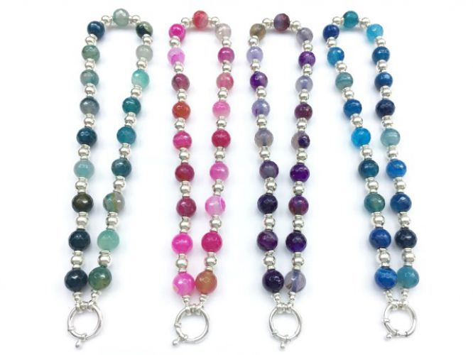 b98ab04cd435 Collar Plata Bolas Y Piedras Diferentes Colores Cierre Marinero